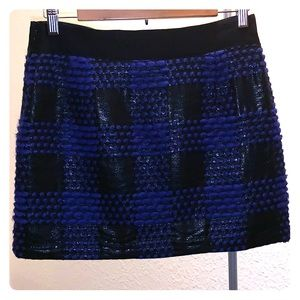 Milly black and purple plaid mini skirt